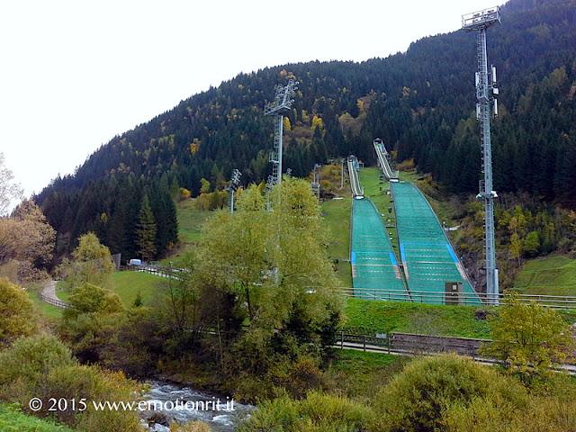 Le piste da salto con gli sci a Predazzo, in Val di Fiemme (Trento).