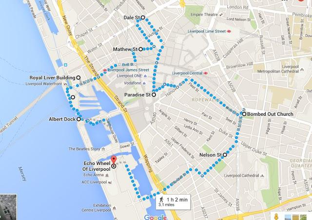 Itinerario a piedi a Liverpool